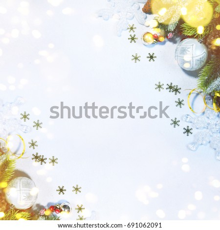 Holiday background, greeting card for Christmas and New Year #691062091