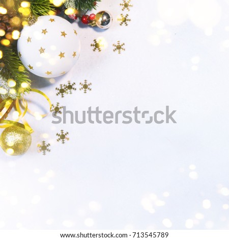Holiday background, greeting card for Christmas and New Year #713545789