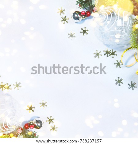 Holiday background, greeting card for Christmas and New Year #738237157