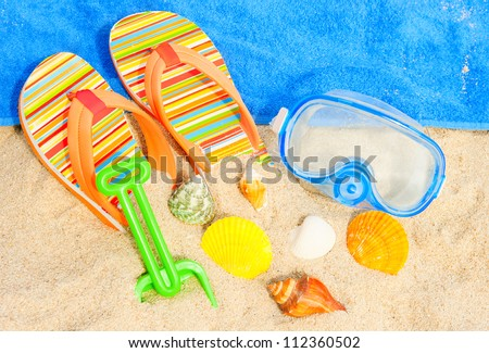 Holiday background. Seashells and diving mask on the beach