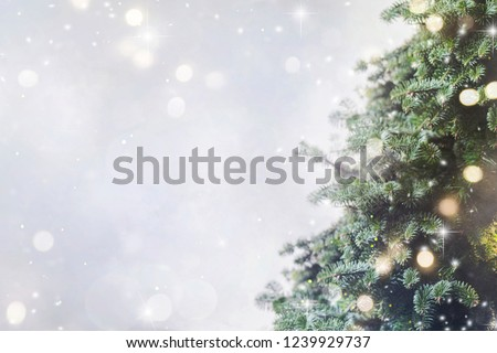 Holiday background with christmas tree #1239929737