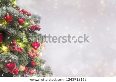 Holiday background with christmas tree #1243912165
