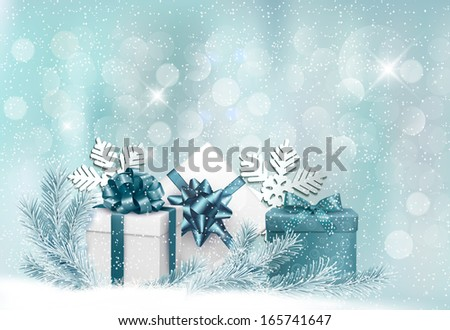 Holiday background with gift ribbon with gift box. Raster version of vector