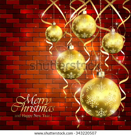 Holiday background with golden Christmas balls and tinsel on a brick wall, illustration.