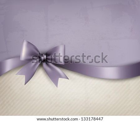 Holiday background with paper and gift bow and ribbon. Raster version