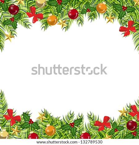 Holiday Background with pine leaves, mistletoe, stars and glass balls. Also available in vector. #132789530