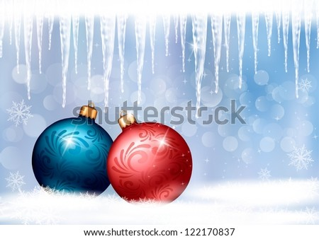 Holiday background with red gift bow with two gift ball. Raster version of vector - stock photo