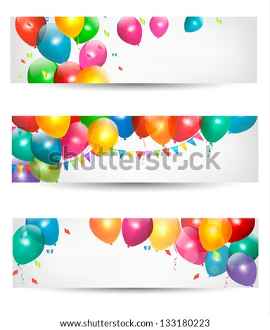 Holiday banners with colorful balloons. Raster version