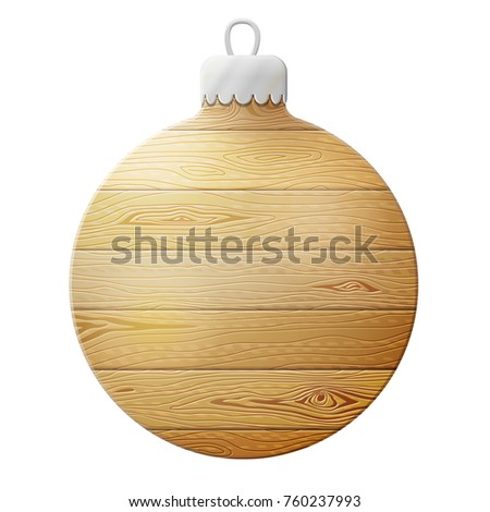Holiday bauble of wood isolated on white. Wooden planks in shape of christmas tree ball.Best  illustration for christmas, new years day, woodworking, winter holiday, decoration, silvester, etc