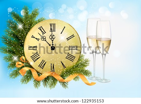 Holiday blue background with champagne glasses and clock . Raster version of vector