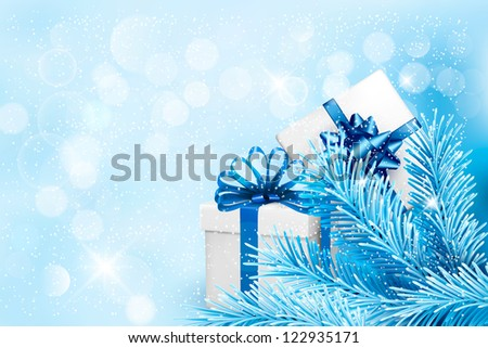 Holiday blue background with gift boxes and tree branches. Raster version of vector.