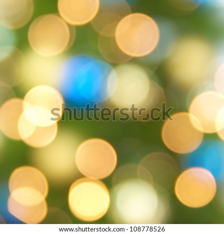 Holiday blue, yellow and green lights- christmas soft background