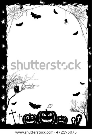 Holiday card on theme of Halloween. Black frame with pumpkins, bats and spiders on gossamers at cemetery on white. Trick or treat. Raster illustration