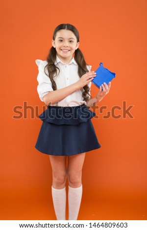 Holiday celebration. Rewarding for efforts. Girl opening gift. Tidy adorable pupil open gift box. Educational program for gifted kids. Happy birthday. Knowledge day. Schoolgirl surprise gift. #1464809603