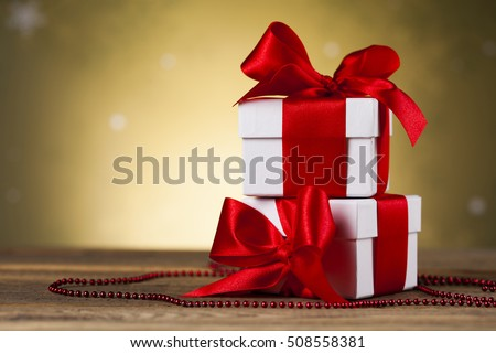 Holiday Christmas background with stack of presents #508558381