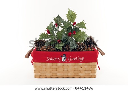 Holiday Christmas Basket with Holly and Pine Cones