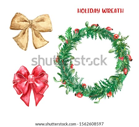 Holiday Christmas wreath. Watercolor winter decorative wreath with greenery foliage, pine and spruce branches, red holly berries, mistletoe leaves, burlap bow and red ribbon, isolated on white.