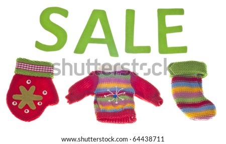Holiday Clothing Sale Isolated on White with a Clipping Path.