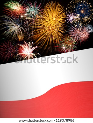 Holiday concept with fireworks and waving Poland / Polish flag