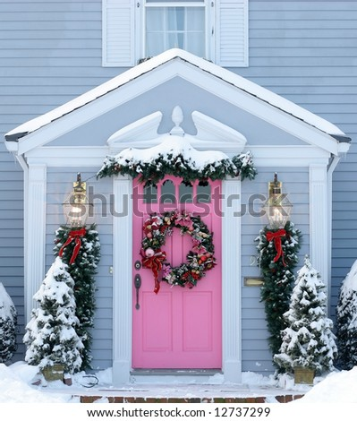 holiday decorated front entrance to home