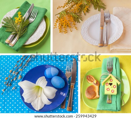 Holiday decoration of the Easter table with a thin captain by a young hare and card for a guest