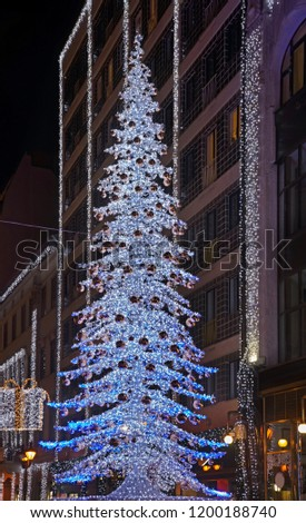 Holiday decorations of  Deak Ferenc street in Budapest. Hungary