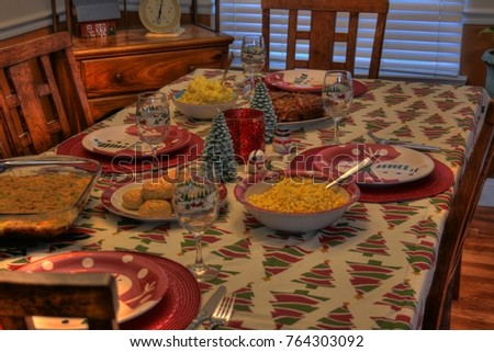 Holiday dinner setting #764303092