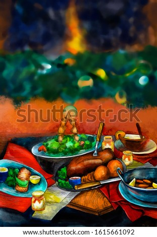 Holiday dinner. Watercolor hand drawn dishes , illustration of fresh tasty meat, fish, vegetables, salad. Organic meal. Menu delicious pages.