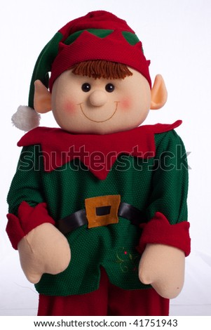 Holiday Elf boy with white background