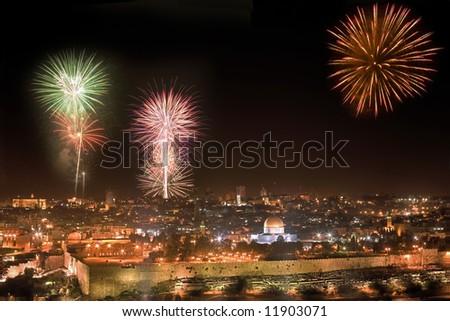 Holiday firework in Jerusalem.