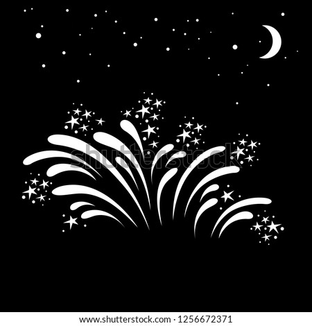 Holiday fireworks icon. Beautiful firework splashes for parties, festivities and celebrations on night sky background