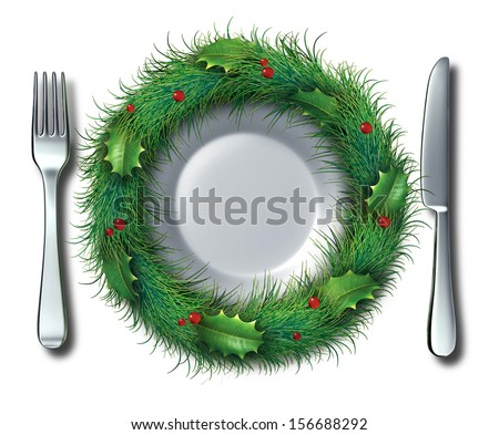 Holiday food and Christmas recipe concept as an empty white plate fork and knife place setting decorated with ornate pine needles with holly as an icon of winter diet or hunger in the festive season.