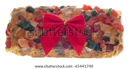 Holiday Fruit Cake Gift with a Bow Isolated on White with a Clipping Path. - stock photo