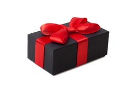 Holiday gift. Black box with a red bow. Isolated on white background.