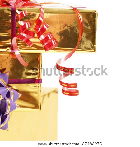 holiday gift in box with gold foil and ribbon isolated on white background