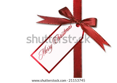 Holiday Gift Tag and Bow With Message of Merry Christmas
