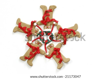 holiday gingerbread cookies in circle, copy space
