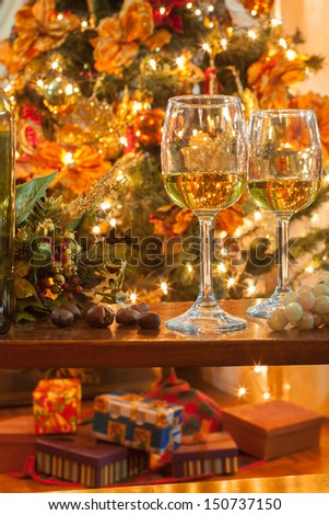 Holiday glass of wine