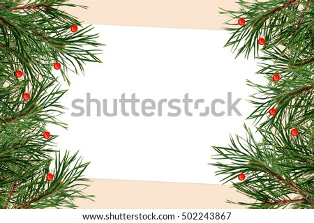 Holiday greeting card with a branch of Christmas tree #502243867