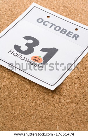 Holiday Halloween, calendar October 31