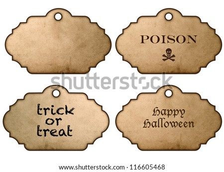 holiday halloween stickers and labels vintage style isolated on white background with clipping path
