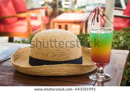 Holiday hat and holiday drink #643581991