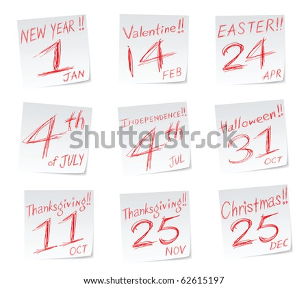 holiday icons with date of calendar, new year, valentine's day, easter sunday, 4th of July, halloween, thanksgiving 2011 (united states and canadian) and christmas