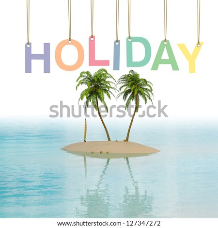 Holiday Island concept with palms and surfboard