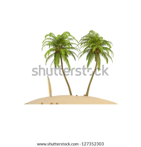 Holiday Island with palms, coconuts and surfboard on white