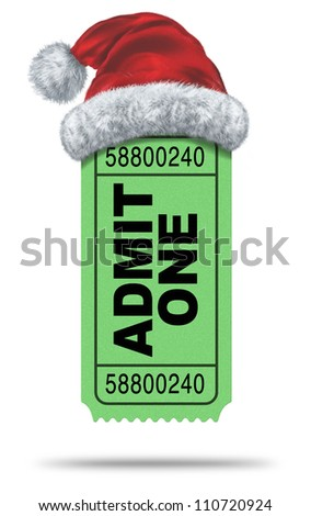 Holiday movies and Christmas movie flicks with a green admit one ticket stub and a Santa Clause hat as an entertainment symbol of the winter film industry cinematic releases on a white background.