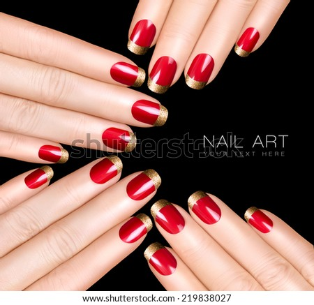Holiday Nail Art. Luxury nail polish with golden glitter French manicure. Manicure and nail art concept. Closeup hands isolated on black with sample text