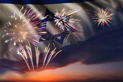 Holiday night sky with fireworks and flag of Israel for Independence day