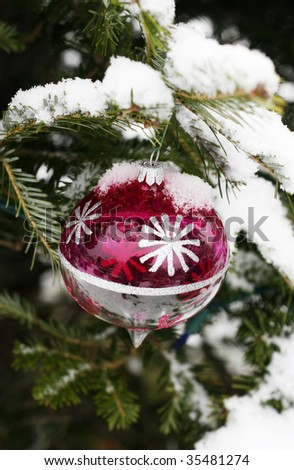holiday ornament on snow covered tree