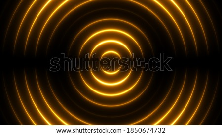 Holiday party background with golden neon lights. Shiny spiral wave tunnel for award celebration.  ストックフォト ©
